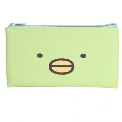 小禮堂 角落生物 企鵝 皮質扁平拉鍊筆袋 鉛筆盒 筆袋 (綠 大臉)