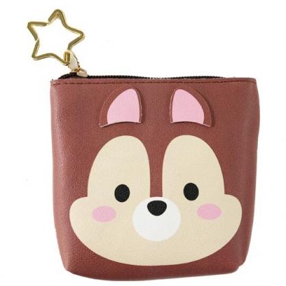 小禮堂 迪士尼 TsumTsum 奇奇 船形皮質零錢包 吊飾零錢包 小物收納包 (深棕 大臉)