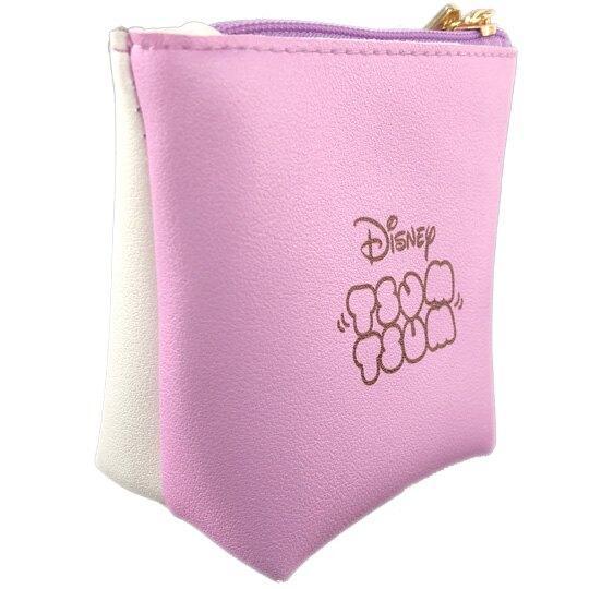 小禮堂 迪士尼 TsumTsum 黛西 船形皮質零錢包 吊飾零錢包 小物收納包 (紫白 大臉)