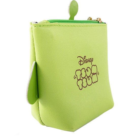 小禮堂 迪士尼 TsumTsum 三眼怪 船形皮質零錢包 吊飾零錢包 小物收納包 (綠 大臉)