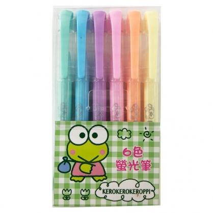 小禮堂 大眼蛙 牛奶色螢光筆組 標示筆 彩色筆 透明盒裝 (6入 綠)