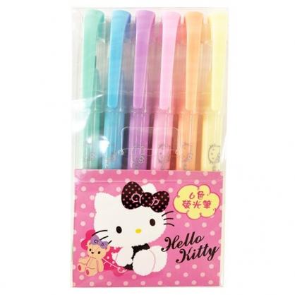 小禮堂 Hello Kitty 牛奶色螢光筆組 標示筆 彩色筆 透明盒裝 (6入 粉)