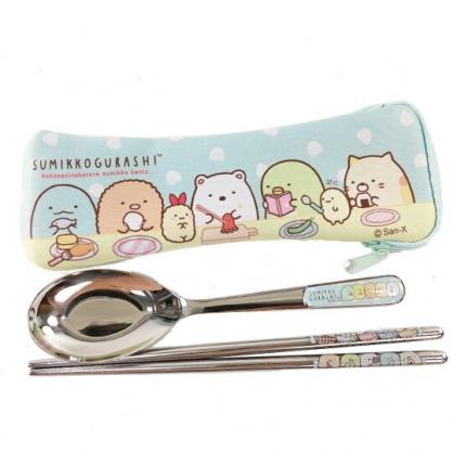 小禮堂 角落生物 304不鏽鋼匙筷組附餐具袋 環保餐具 兒童餐具 (藍黃 圍裙)
