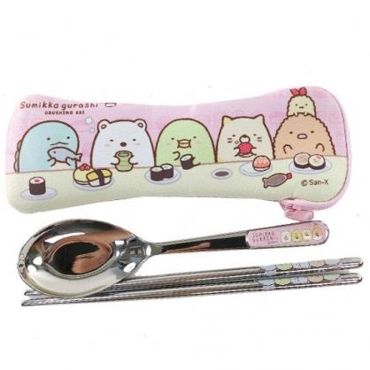 小禮堂 角落生物 304不鏽鋼匙筷組附餐具袋 環保餐具 兒童餐具 (粉黃 吃壽司)