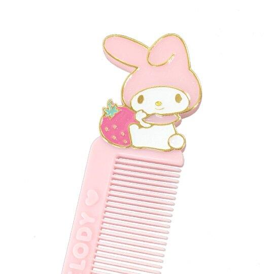 小禮堂 美樂蒂 造型塑膠扁梳 手握梳 梳子 附收納套 (粉白 草莓)