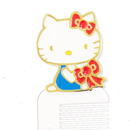 小禮堂 Hello Kitty 造型塑膠扁梳 手握梳 梳子 附收納套 (紅白 蝴蝶結)