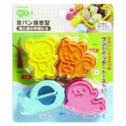 小禮堂 TORUNE 動物造型塑膠吐司壓模組 食物壓模 便當模具 (4入 橘粉)