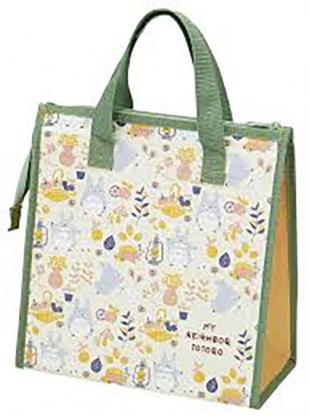 小禮堂 宮崎駿 龍貓 方形不織布保冷便當袋 餐袋 手提野餐袋 (綠黃 提籃)