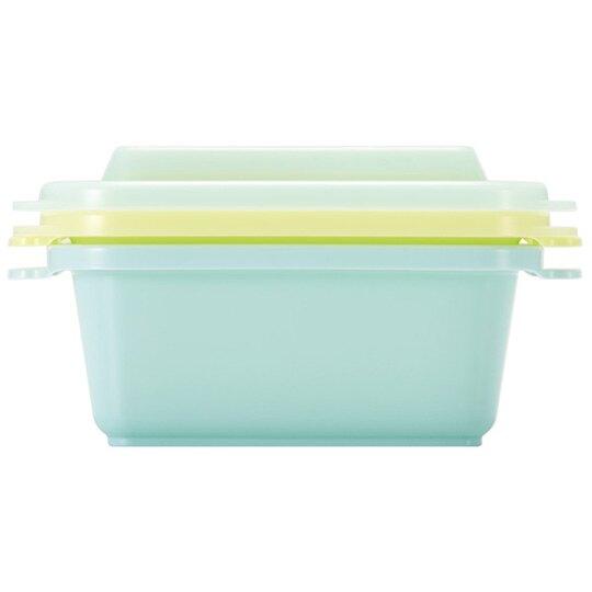 小禮堂 角落生物 日製 方形塑膠保鮮盒 透明保鮮盒 微波便當盒 300ml (2入 綠 抱頭)