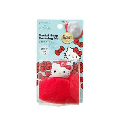 小禮堂 Hello Kitty 肥皂網袋 肥皂海綿 沐浴澡巾 搓澡巾 (紅白 大臉)