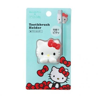 小禮堂 Hello Kitty 大臉造型吸盤式牙刷架 牙刷收納架 塑膠牙刷架 (紅白)