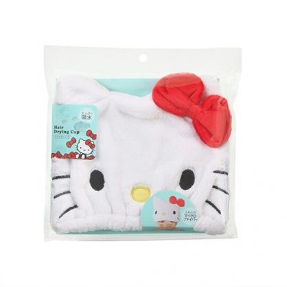 小禮堂 Hello Kitty 兒童大臉造型鬆緊浴帽 快乾浴帽 擦髮巾 (紅白)