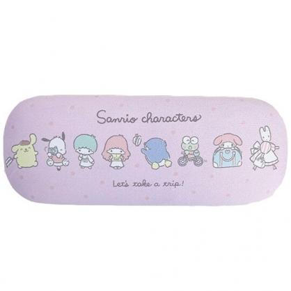 小禮堂 Sanrio大集合 尼龍硬殼眼鏡盒 硬殼收納盒 附眼鏡布 (粉 點點)