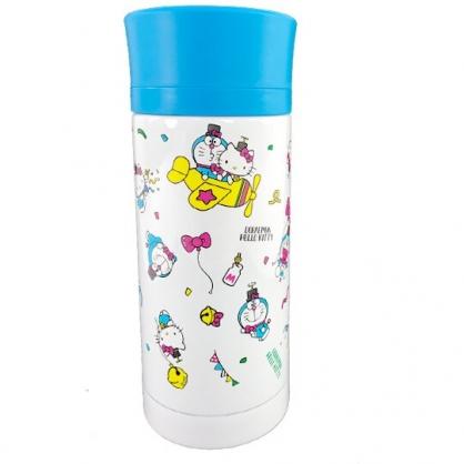 小禮堂 Hello Kitty x 哆啦A夢 旋轉蓋不鏽鋼保溫瓶 兒童水壺 隨身水壺 350ml (藍白)
