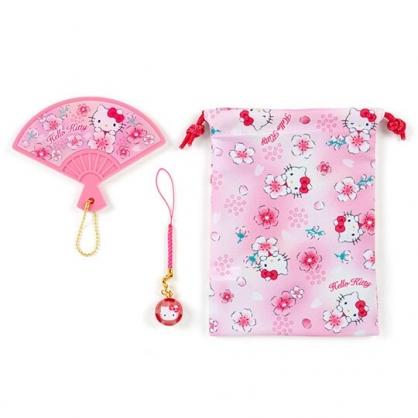 小禮堂 Hello Kitty 扇形隨身鏡吊飾束口袋組 小物收納袋 掛飾鏡 (桃粉)