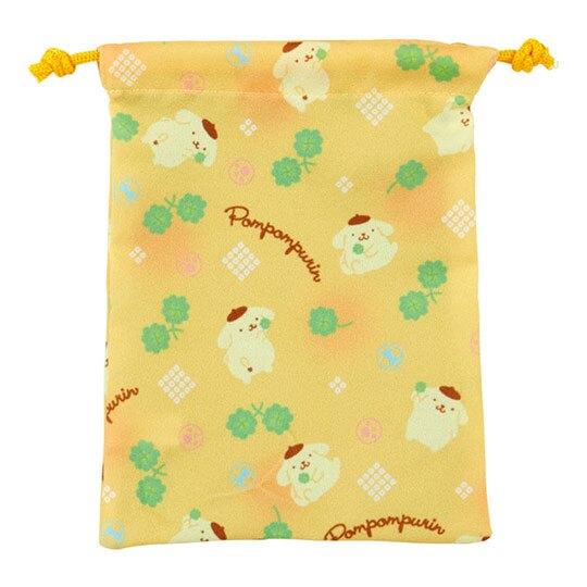 小禮堂 布丁狗 扇形隨身鏡吊飾束口袋組 小物收納袋 掛飾鏡 (黃)