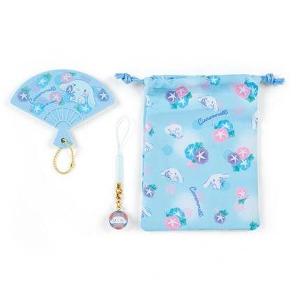 小禮堂 大耳狗 扇形隨身鏡吊飾束口袋組 小物收納袋 掛飾鏡 (藍)