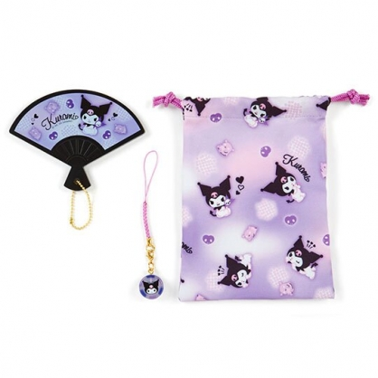 小禮堂 酷洛米 扇形隨身鏡吊飾束口袋組 小物收納袋 掛飾鏡 (紫)