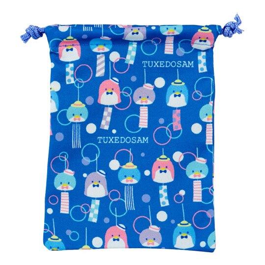 小禮堂 山姆企鵝 扇形隨身鏡吊飾束口袋組 小物收納袋 掛飾鏡 (深藍)