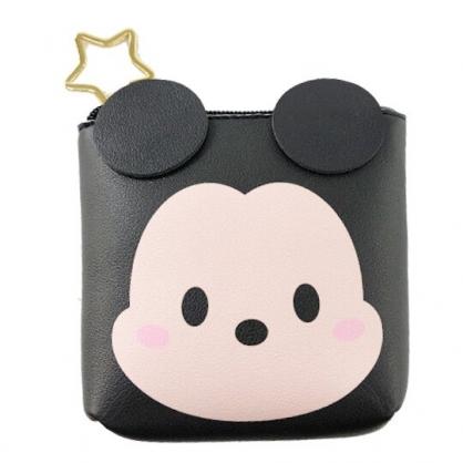 小禮堂 迪士尼 TsumTsum 米奇 船形皮質零錢包 吊飾零錢包 小物收納包 (黑 大臉)