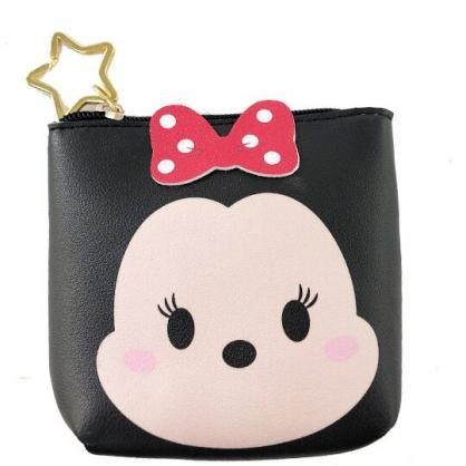 小禮堂 迪士尼 TsumTsum 米妮 船形皮質零錢包 吊飾零錢包 小物收納包 (黑 大臉)