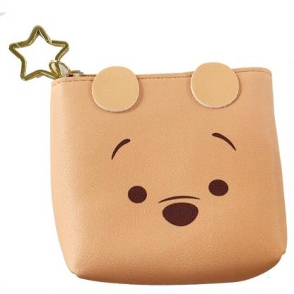 小禮堂 迪士尼 TsumTsum 小熊維尼 船形皮質零錢包 吊飾零錢包 小物收納包 (黃 大臉)