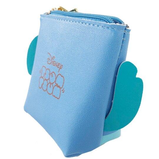 小禮堂 迪士尼 TsumTsum 史迪奇 船形皮質零錢包 吊飾零錢包 小物收納包 (藍 大臉)