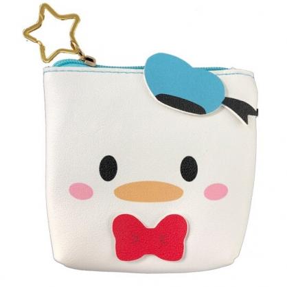 小禮堂 迪士尼 TsumTsum 唐老鴨 船形皮質零錢包 吊飾零錢包 小物收納包 (綠白 大臉)