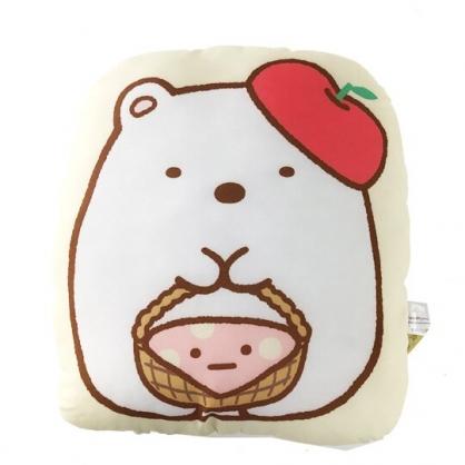 小禮堂 角落生物 北極熊 造型絨毛抱枕 靠墊 玩偶 娃娃 (黃白 蘋果帽)