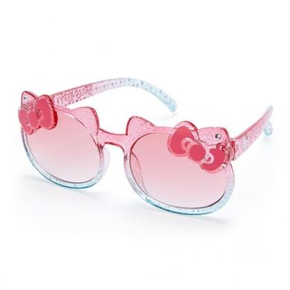 小禮堂 Hello Kitty 兒童造型鏡框抗UV太陽眼鏡 墨鏡 防曬眼鏡 (粉藍 2020夏日服飾)