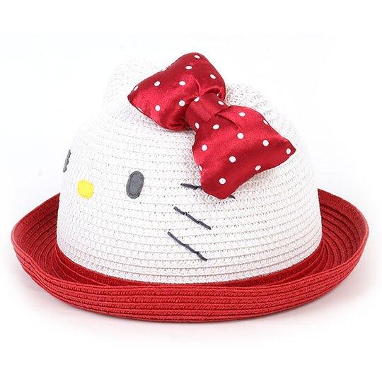小禮堂 Hello Kitty 兒童造型圓頂藤編帽 編織帽 海灘帽 (紅白 2020夏日服飾)