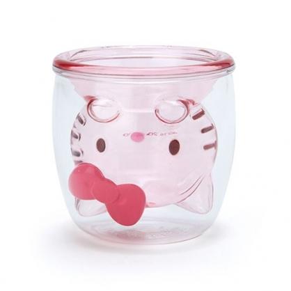小禮堂 Hello Kitty 雙層造型透明塑膠杯 貓爪杯 牛奶杯 水杯 180ml (粉)