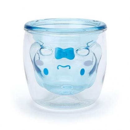 小禮堂 大耳狗 雙層造型透明塑膠杯 貓爪杯 牛奶杯 水杯 180ml (藍)