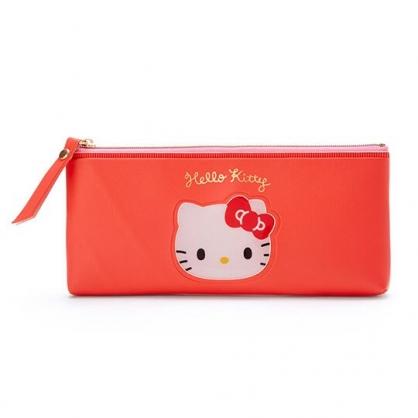 小禮堂 Hello Kitty 防水皮質拉鍊筆袋 扁平筆袋 鉛筆袋 文具袋 (紅 大臉文具)