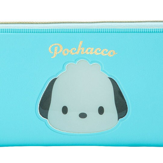 小禮堂 帕恰狗 防水皮質拉鍊筆袋 扁平筆袋 鉛筆袋 文具袋 (藍綠 大臉文具)