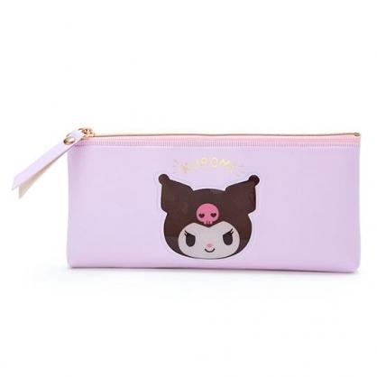 小禮堂 酷洛米 防水皮質拉鍊筆袋 扁平筆袋 鉛筆袋 文具袋 (紫 大臉文具)