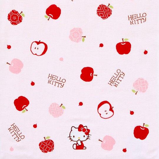 小禮堂 Hello Kitty 紗布長毛巾 純棉毛巾 長巾  34x80cm (紅粉 蘋果)