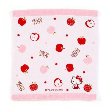 小禮堂 Hello Kitty 紗布短毛巾 純棉毛巾 方形毛巾 34x36cm (紅粉 蘋果)