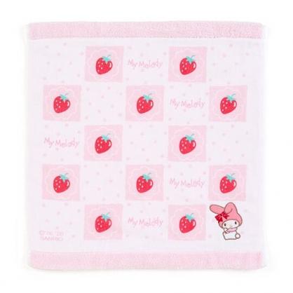 小禮堂 美樂蒂 紗布短毛巾 純棉毛巾 方形毛巾 34x36cm (粉 草莓)