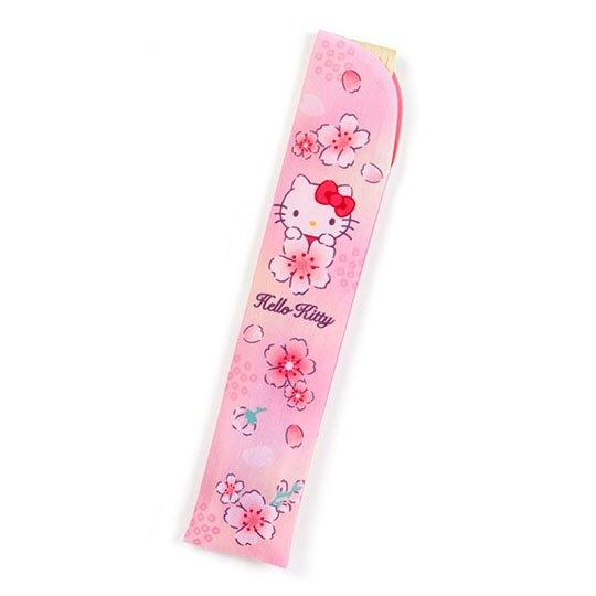 小禮堂 Hello Kitty 半圓竹扇附扇套 折扇 手拿扇 (粉 櫻花)
