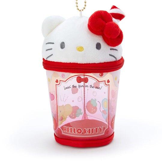 小禮堂 Hello Kitty 造型透明玩偶收納包 掛飾收納包 玩偶展示包 (紅白 熱帶沙灘)