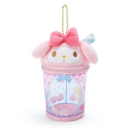 小禮堂 美樂蒂 造型透明玩偶收納包 掛飾收納包 玩偶展示包 (粉藍 熱帶沙灘)