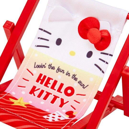 小禮堂 Hello Kitty 海灘椅造型手機架 塑膠置物架 玩偶椅 (紅白 熱帶沙灘)