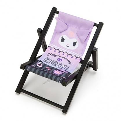 小禮堂 酷洛米 海灘椅造型手機架 塑膠置物架 玩偶椅 (紫黑 熱帶沙灘)