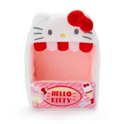 小禮堂 Hello Kitty 造型絨毛玩偶收納盒 玩偶展示盒 絨毛置物盒 (紅白 熱帶沙灘)