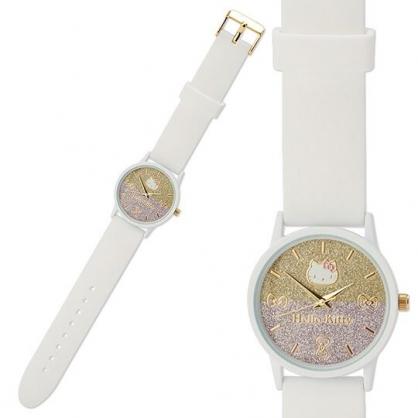 小禮堂 Hello Kitty 矽膠錶帶腕錶手錶 休閒手錶 淑女錶 透明盒裝 (白 亮粉)