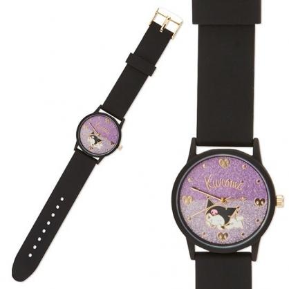 小禮堂 酷洛米 矽膠錶帶腕錶手錶 休閒手錶 淑女錶 透明盒裝 (黑 亮粉)