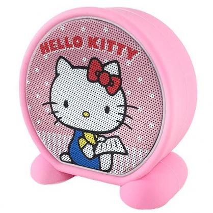 小禮堂 Hello Kitty 圓形無線藍牙喇叭 藍牙音響 藍牙音箱 (粉白 側坐)
