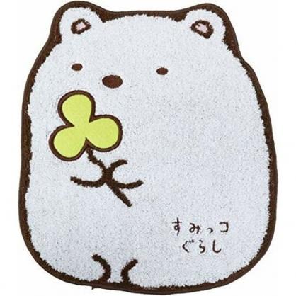小禮堂 角落生物 北極熊 造型純棉無捻紗方巾 手帕 小毛巾 23x26cm (白 坐姿)