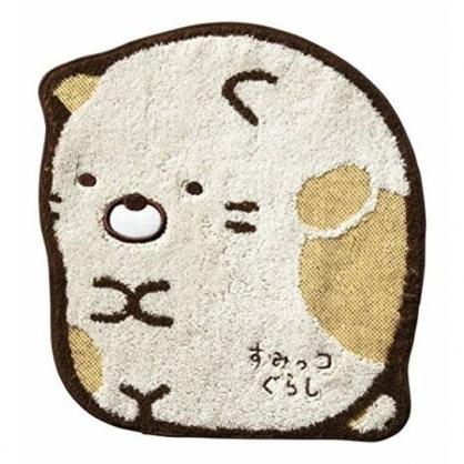 小禮堂 角落生物 貓咪 造型純棉無捻紗方巾 手帕 小毛巾 23x26cm (黃 坐姿)